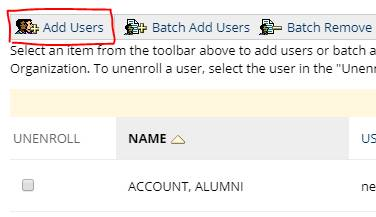 Add users button from My Organizations Plus module